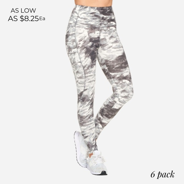 Full-Length Tie-Dye Leggings Featuring Double Pockets. (6 Pack)   - High Waist - 2 Outside Pockets - Made from soft 4-way moisture wicking polyester - Printed Design - High Quality Fabric - Squat Test Approved! - All purpose leggings are great for all exercises or everyday casual wear - Material: 88% Polyester, 12% Spandex - Sizes: 1-S, 2-M, 2-L, 1-XL