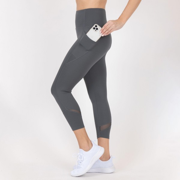 Capri Length High-Waisted Leggings Featuring Mesh Details and Side Pockets. (6 Pack)  - 2 Outside Pockets - Made from soft 4-way moisture wicking polyester - Printed Design - High Quality Fabric - Squat Test Approved! - All purpose leggings are great for all exercises or everyday casual wear - Material: 88% Polyester, 12% Spandex - Sizes: 1-S, 2-M, 2-L, 1-XL