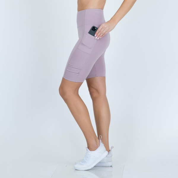 """Activewear High-Waisted Biker Shorts Featuring Side Pockets. (6 Pack)  - 9"""" Biker Short - High Waist - 2 Outside Pockets - Made from soft 4-way moisture-wicking polyester - Squat Test Approved! - Material: 88% Polyester, 12% Spandex - Sizes: 1-S, 2-M, 2-L, 1-XL"""
