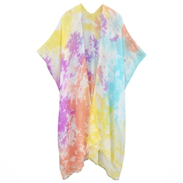 Lightweight Tie Dye Kimono.   - One Size Fits Most 0-14 - 65% Polyester, 35% Viscose