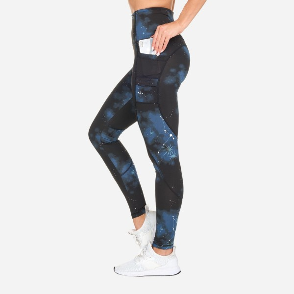 Galaxy Print Full-Length Leggings Featuring Double Pockets. (6 Pack)  - High Waist - 2 Pockets - Made from soft 4-way moisture wicking polyester - Double Pocket Design - High Quality Fabric - Squat Test Approved! - All-Purpose leggings are great for all exercises or everyday casual wear - Material: 88% Polyester, 12% Spandex - Sizes: 1-S, 2-M, 2-L, 1-XL