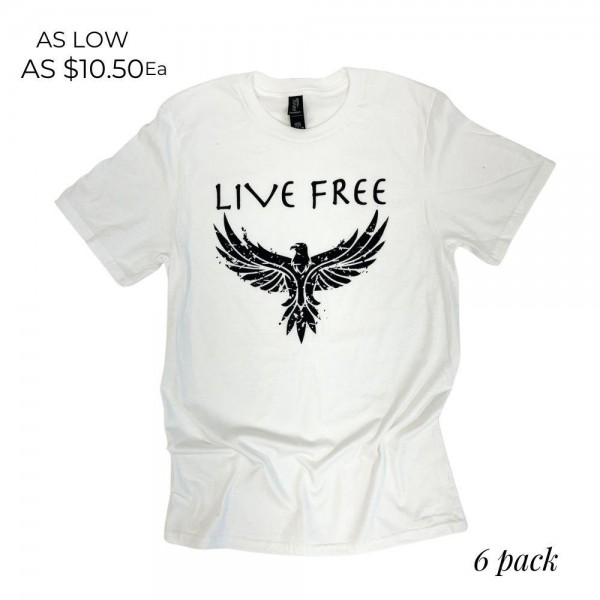 Live Free Graphic Tee.  - Printed on an Anvil Brand Tee - Color: White  - 6 Shirts Per Pack - Sizes: 1-S / 2-M / 2-L / 1-XL - 100% Cotton