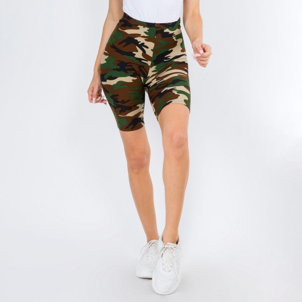 Women's Classic Camo-Print Peach Skin Biker Shorts. (6 Pack)  • Skinny leg design • Mid-Waist • Camouflage Print • Pull-on styling • Hand Wash Cold. Do not bleach. Hang Dry • Imported  Composition: 95% Polyester, 5% Spandex  Pack Breakdown: 6pcs/pack. One Size