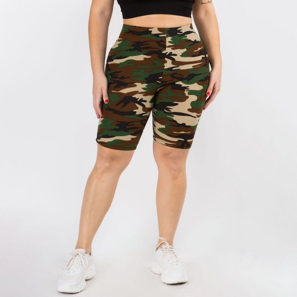 Plus Size Women's Classic Camo-Print Peach Skin Biker Shorts. (6 Pack)   - Skinny leg design  - Mid-Waist  - Camouflage Print  - Pull-on styling  - Hand Wash Cold. Do not bleach. Hang Dry   Composition: 95% Polyester, 5% Spandex   Pack Breakdown: 6pcs/pack. One Size