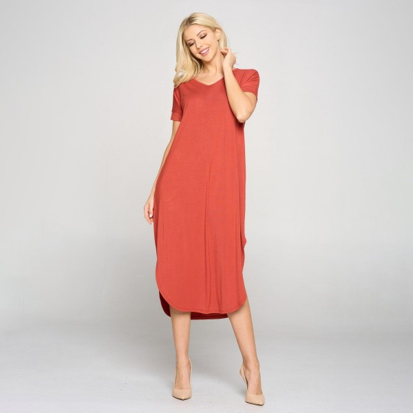Women's Casual Curved Hem Midi Dress with Pockets.   • V neckline • Flowy shift silhouette • Midi length hem • Short sleeves • Two pockets on each hip • Rounded/Curved hem • Soft and comfortable with a stretch  Content: 95% Rayon, 5% Spandex  Pack Breakdown: 6pcs/pack. 2S: 2M: 2L
