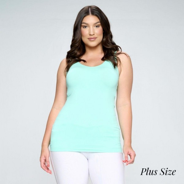Lady's V Neckline Reversible Seamless Tank.   • Wide shoulder straps • V-neckline • Back scoop neck • Fitted silhouette • Seamless design • Buttery soft fabrication with stretch • Pull-on/off • Longline hem • Imported  Pack Breakdown: 6pcs/pack. PLUS SIZE  Composition: 92% Nylon, 8% Spandex