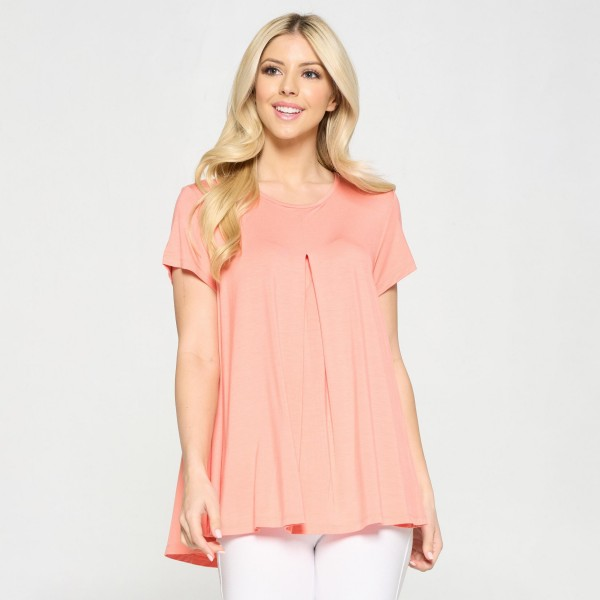 Plus Size Women's Short Sleeve Top Featuring Pleat Detail. (6 Pack)  • Short sleeves • Round neckline • Pleat detail on front • Flowy silhouette • Keyhole on the back • Soft and comfortable fabric with stretch • Pullover styling  Content: 95% Rayon, 5% Spandex  Pack Breakdown: 6pcs/pack. 2XL:2XXL:2XXXL