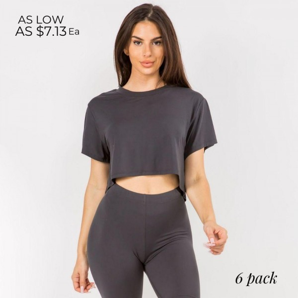 Women's Cropped Crew Tee. (6 Pack)  - • Crew neckline • Dropped Short Sleeves • Cropped length • Soft and comfortable fabric with stretch • Pullover styling • Imported  Pack Breakdown: 6pcs/pack. 2S: 2M: 2L