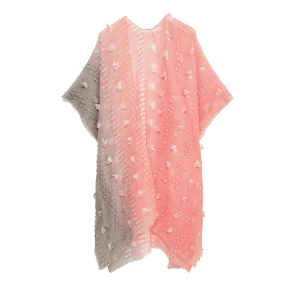 Lightweight Ombre Kimono Featuring Pom-Pom Accents.  - 100% Polyester - One Size Fits Most 0-14
