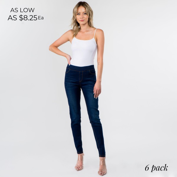 Dark Wash Straight Leg Jeggings Featuring Pockets. (6 Pack)  - Elastic Waistband Design  - 76% Cotton, 22% Polyester, 2% Spandex - 6 Pairs of Jeggings Per Pack - Sizes: 2-S, 2-M, 2-L