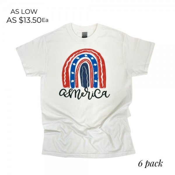 America Graphic Tee. (6 Pack)  - Printed on a Gildan Softstyle Brand Tee - Color: White - 6 Shirts Per Pack - Sizes: 1:S 2:M 2:L 1:XL - 50% Cotton / 50% Polyester