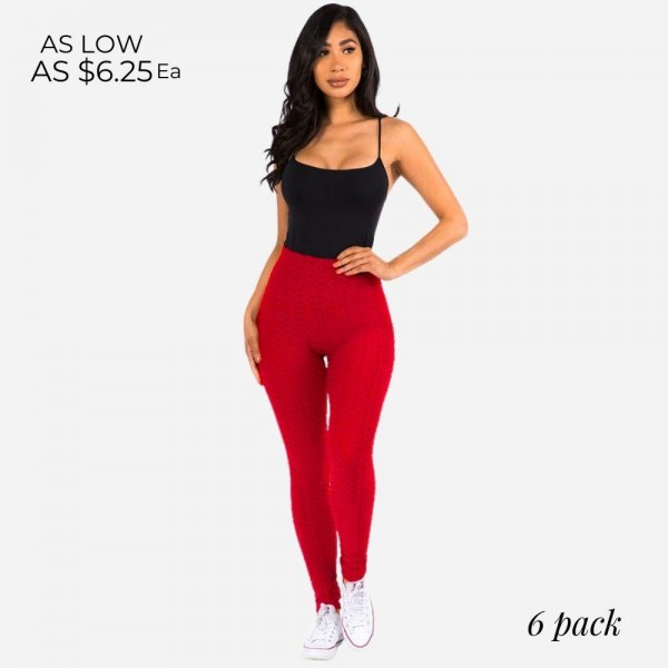 Women's Brazilian Body Sculpting Full-Length Leggings Featuring Side Pockets. (6 pack)   - As Seen on TikTok - 2 Side Pockets, Perfect for Cards or Cell Phone  - Body Sculpting  - Anti-Cellulite  - Butt Lifting  - Full Length  - 6 Pair Per Pack  - Sizes: 3-S/M, 3-L/XL - 92% Polyester / 8% Spandex