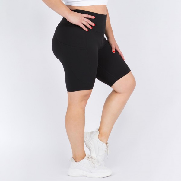Plus Size Biker Shorts Featuring Side Pocket. (3 Pack)  • Flattening elasticized waistband with interior pocket • Side pocket holds a phone, keys, cash • Ultra-soft, buttery fabrication • Squat proof design • Flattering seams enhance curves • 4-way stretch for a move-with-you feel • Triangle crotch gusset eliminates camel toe • Stretchy and comfortable • Flat lock seams prevents chafing • Fits like a glove • Perfect for all low-high impact workouts • Double inner leg seams for zero bagginess • Stretchy and comfortable  Composition: 75% Nylon, 25% Spandex  Pack Breakdown: 3pcs/pack. XL