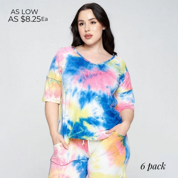 Plus Size Tie-Dye Drop Shoulder Tee. (6 Pack)  • Tie-dye design • Dropped shoulder seams • Mid-length short sleeve • Short sleeves • V-neck • Relaxed fit • Soft and stretchy • Comfortable for lounging at home  Composition: 95% Polyester, 5% Spandex  Pack Breakdown: 6pcs/pack. XL