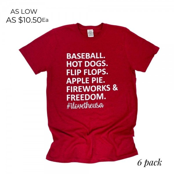 """""""I Love the USA"""" Patriotic Graphic Tee. (6 Pack)  - Printed on a Gildan Softstyle Brand Tee - Color: Red - 6 Shirts Per Pack - Sizes: 1:S 2:M 2:L 1:XL - 90% Cotton / 10% Polyester"""