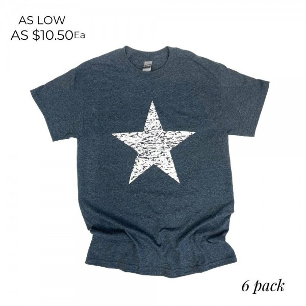 Distressed Star Patriotic Graphic Tee. (6 Pack)  - Printed on a Gildan Brand Tee - Color: Dark Heather - 6 Shirts Per Pack - Sizes: 1:S 2:M 2:L 1:XL - 50% Cotton, 50% Polyester