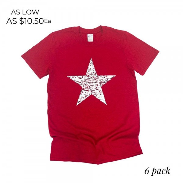 Distressed Star Patriotic Graphic Tee. (6 Pack)  - Printed on a Gildan Brand Tee - Color: Red - 6 Shirts Per Pack - Sizes: 1:S 2:M 2:L 1:XL - 90% Cotton, 10% Polyester