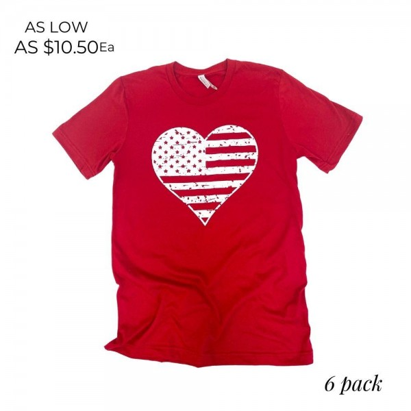 Distressed Heart Flag Patriotic Graphic Tee. (6 Pack)  - Printed on a Bella Canvas Brand Tee - Color: Blue - 6 Shirts Per Pack - Sizes: 1:S 2:M 2:L 1:XL - 100% Cotton
