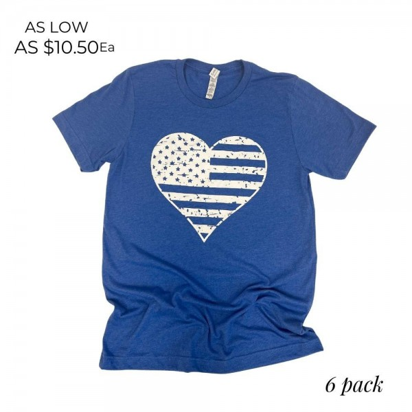 Distressed Heart Flag Patriotic Graphic Tee. (6 Pack)  - Printed on a Bella Canvas Brand Tee - Color: Blue - 6 Shirts Per Pack - Sizes: 1:S 2:M 2:L 1:XL - 52% Cotton, 48% Polyester