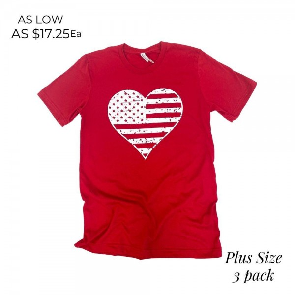 Plus Size Distressed Heart Flag Patriotic Graphic Tee. (3 Pack)  - Printed on a Bella Canvas Brand Tee - Color: Red - 6 Shirts Per Pack - Sizes: All 2XL - 100% Cotton