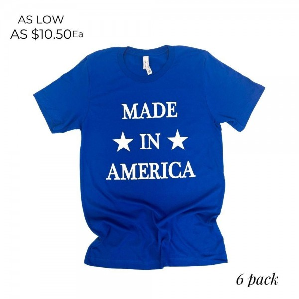 """""""Made in America"""" Patriotic Graphic Tee. (6 Pack)  - Printed on a Bella Canvas Brand Tee - Color: Blue - 6 Shirts Per Pack - Sizes: 1:S 2:M 2:L 1:XL - 100% Cotton"""