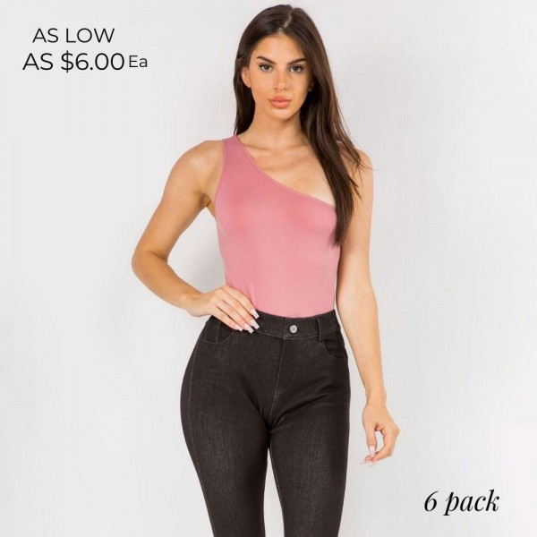Seamless One-Shoulder Bodysuit Featuring an Asymmetrical Neckline and a Thong Fit that Remains Invisible Under Clothing.   • Asymmetrical One-Shoulder Neckline • Seamless Design, No Clasps • Thong fit • Soft and Stretchy Fabric • 92% Nylon, 8% Spandex  - Pack Breakdown: 6pcs/pack. - One Size Fits Most.