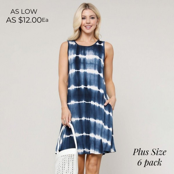"""Women's Plus Size Knit Sleeveless Tie-Dye Swing Dress with Pockets.  Who runs the world? With the Knit Tie Dye Dress it will always be you! Lightweight jersey knit sweeps across a rounded neckline. Comfy swing silhouette flares gently to a perfect finish. Hidden side seam pockets.  • Relax Scoop Neckline • Sleeveless • Side Pockets • Swing Style Bodice • Tie Dye • Closure Style: Pullover • Hand Wash Cold/Tumble Dry/Iron Low/Do not Dry Clean • Import  - Pack Breakdown: 6pcs/pack - Sizes: 2-XL / 2-2XL / 2-3XL  - Approximately 34"""" L  - 95% Rayon / 5% Spandex"""