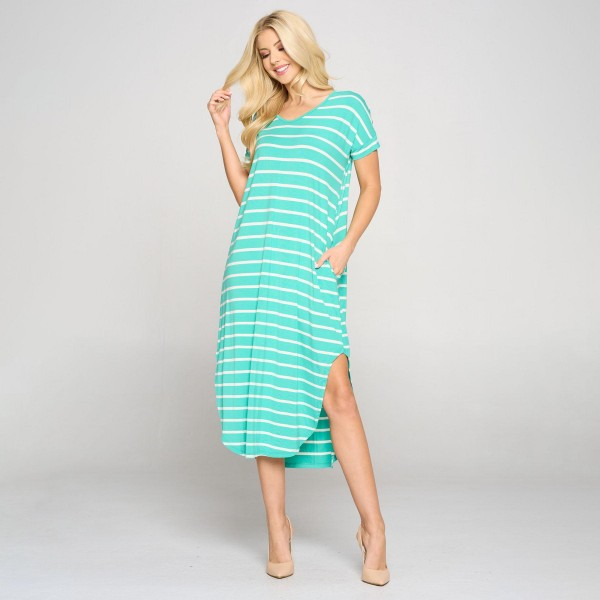Women's Striped Curved Hem Midi Dress with Pockets. (6 Pack)  • V neckline • Flowy shift silhouette • Midi length hem • Short sleeves • Two pockets on each hip • Rounded/Curved hem • Soft and comfortable with a stretch • Soft and stretchy • Imported  Content: 95% Rayon, 5% Spandex  Pack Breakdown: 6pcs/pack. 2S: 2M: 2L
