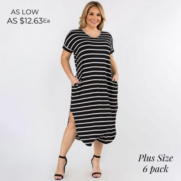 Plus Size Soft, Stretchy Knit Fabric Striped Dress Featuring a Rounded Hem, Short Sleeves, and Two Pockets on Each Hip. (6 Pack)  - V Neckline - Flowy Shift Silhouette - Midi Length Hem - Short Sleeves - Rounded/Curved Hem - Soft & Comfortable with a Stretch Content: 95% Rayon, 5% Spandex Pack Breakdown: 6pcs/pack. 2XL / 2XXL / 2XXXL