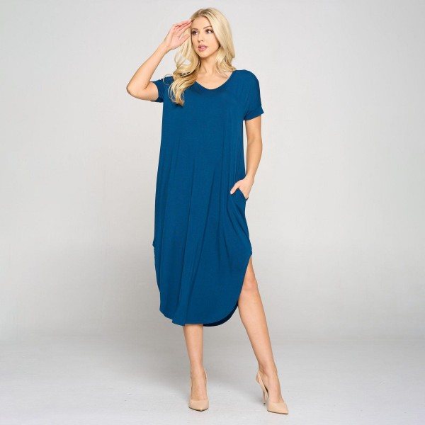 Soft, Stretchy Knit Fabric Dress Featuring a Rounded Hem, Short Sleeves, and Two Pockets on Each Hip.  • V Neckline • Flowy Shift Silhouette • Midi Length Hem • Short Sleeves • Rounded/Curved Hem • Soft & Comfortable with a Stretch  Content: 95% Rayon, 5% Spandex  Pack Breakdown: 6pcs/pack. 2S: 2M: 2L