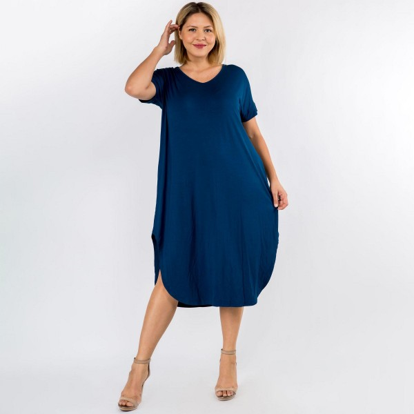 Plus Size Soft, Stretchy Knit Fabric Dress Featuring a Rounded Hem, Short Sleeves, and Two Pockets on Each Hip. (6 Pack)  - V Neckline - Flowy Shift Silhouette - Midi Length Hem - Short Sleeves - Rounded/Curved Hem - Soft & Comfortable with a Stretch Content: 95% Rayon, 5% Spandex Pack Breakdown: 6pcs/pack. 2XL / 2XXL / 2XXXL