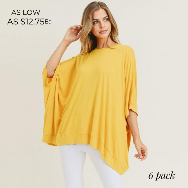 Solid Color Short Sleeve Oversized Boxy Tunic Tee with Round Neckline. (6 Pack)  • Short sleeves, round neckline • Oversized silhouette • Soft and stretchy • Pullover styling   - Pack Breakdown: 6pck/pack - Sizes: 2-S / 2-M / 2-L - 95% Rayon / 5% Spandex