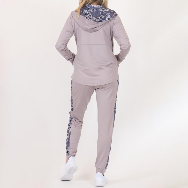 Heathered Athleisure Hoodie With Pockets and Drawstrings.  - Full Length Zipper - Floral Print Inside Hood - 2 outside pockets - Lightweight - Material: 90% Polyester, 10% Spandex