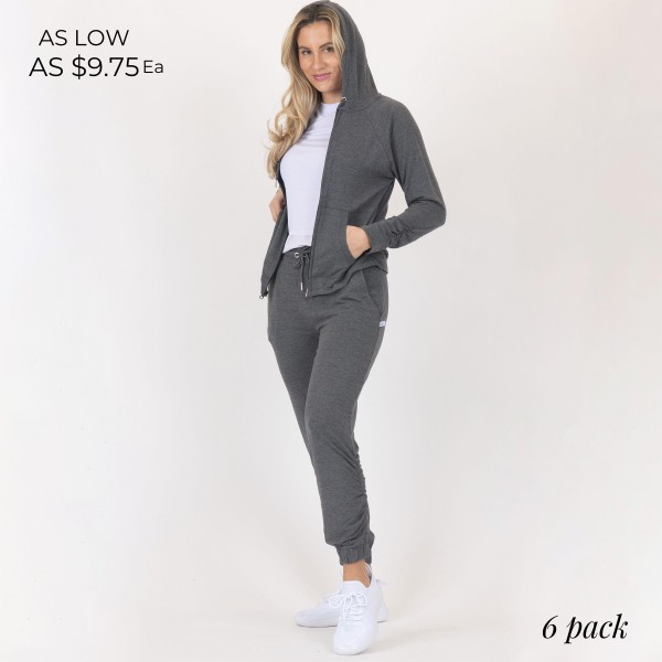 Heathered Athleisure Hoodie With Pockets and Drawstrings.  - Full Length Zipper - 2 outside pockets - Lightweight - Material: 90% Polyester, 10% Spandex