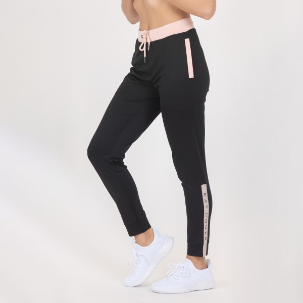 Full Length Jogger Sweatpants With Pockets and Drawstrings. (6 Pack)  - Full Length Jogger Sweatpants - Pink Accents - 2 Pockets - Fashionable and functional elastic waistband & ankles that provide a secure flattering fit - Material: 90% Polyester, 10% Spandex - Sizes: 1-S, 2-M, 2-L, 1-XL
