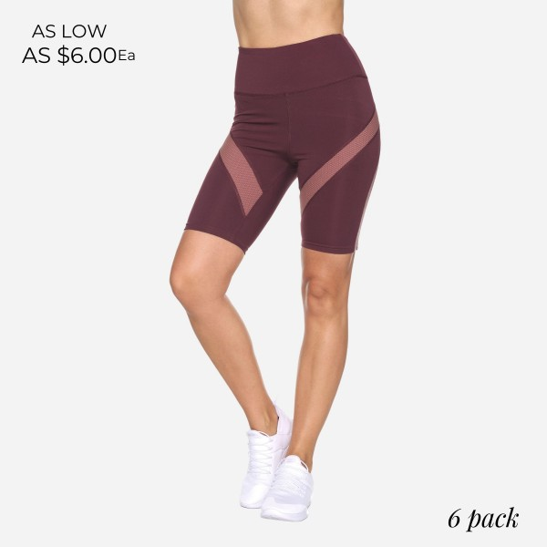 """Women's Active High Rise Biker Shorts with Mesh Detail. (6 Pack)  - Spandex Compression Fit - Breathable Moisture Wicking Fabric - Shorts are 9"""" Long - Featuring High Waist Design  - 6 Pairs of Shorts Per Pack - Sizes: 1-S, 2-M, 2-L, 1-XL"""