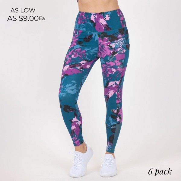 Floral Print Women's Athletic Leggings. (6 Pack)  - High Waist Design - 2 Side Pockets - Spandex Compression Fit - Breathable, Moisture Wicking Fabric - Full Length - 88% Polyester, 12% Spandex - 6 Pairs of Leggings Per Pack - Sizes: 1-S, 2-M, 2-L, 1-XL
