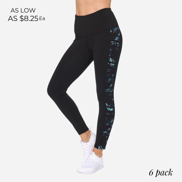 Women's Athletic Leggings Featuring Marble Print Accents. (6 Pack)  - High Waist Design - Spandex Compression Fit - Breathable, Moisture Wicking Fabric - 7/8 Length  - 88% Polyester, 12% Spandex - 6 Pairs of Leggings Per Pack - Sizes: 1-S, 2-M, 2-L, 1-XL