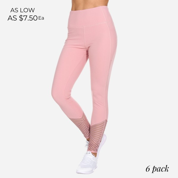 Pale Mauve Women's Active Leggings Featuring Mesh Details. (6 Pack)  - Features High Waist Design - Spandex Compression - Breathable, Moisture Wicking Fabric - 85% Polyester, 15% Spandex - 6 Pairs of Leggings - Sizes: 1-S, 2-M, 2-L, 1-XL