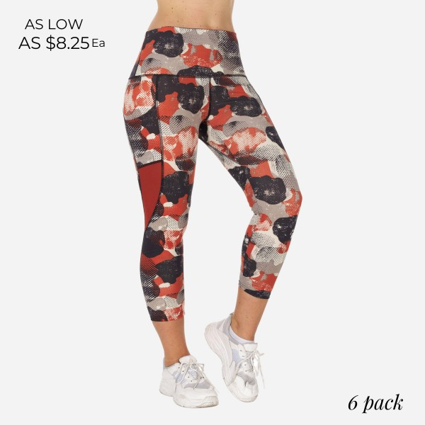 Plus Size Women's Active High Rise leggings Featuring Dotted Camouflage Print with Mesh Details. (6 Pack)  - High Waisted Design - 2 Outside Pockets - Made from soft 4-way moisture wicking polyester - Dotted Camo Print Detail - High Quality Fabric - Squat Test Approved! - All purpose leggings are great for all exercises or everyday casual wear - Material: 88% Polyester, 12% Spandex - Care Instructions: To clean, machine wash cold. To dry, air/tumble dry on low. - 6 Pairs of Leggings Per Pack  - Sizes: 2- 1XL, 2- 2XL, 3 - 3XL