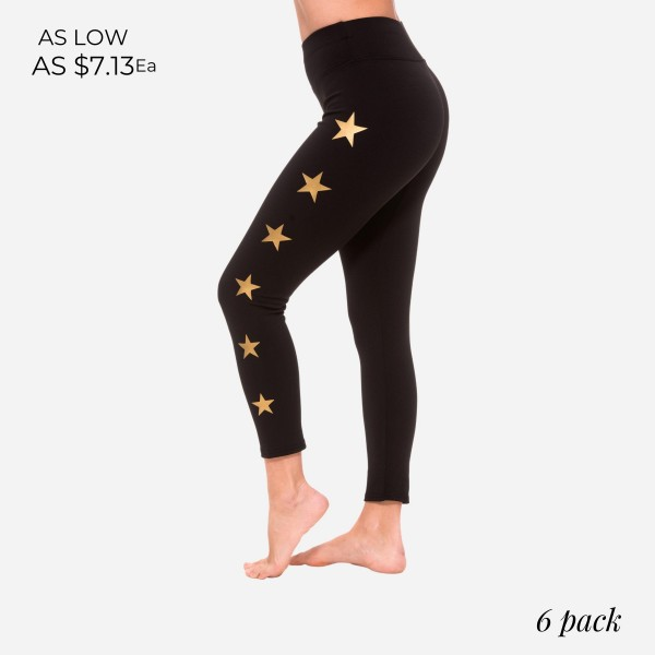 Women's Active Leggings Featuring Star Accents Down the Sides. (6 Pack)  - High Waisted Design - Breathable, Moisture Wicking Fabric - Squat Proof 4 Way Stretch  - 88% Polyester, 12% Spandex - 6 Pairs of Leggings Per Pack  - Sizes: 1-S, 2-M, 2-L, 1-XL