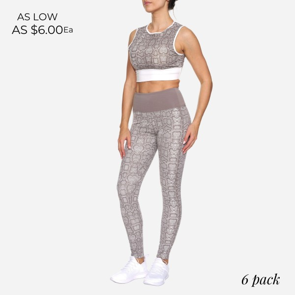 Snake Print Women's Active Sports Bra Featuring Cut Out Detail on the Back. (6 Pack)  - Features Elastic Band For Added Support - Includes Padded Lining on Inside for Complete Coverage - Spandex Compression Fit - Breathable Moisture Wicking Fabric - 6 Sports Bras Per Pack - Sizes: 1-S, 2-M, 2-L, 1-XL