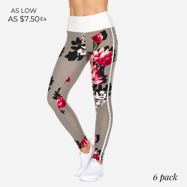 Floral Print Full-Length Leggings Featuring Rhinestone Detailing Down the Side. (6 Pack)  - High Waist - Made from soft 4-way moisture wicking polyester - High Quality Fabric - Squat Test Approved! - All-Purpose leggings are great for all exercises or everyday casual wear - Material: 88% Polyester, 12% Spandex - Sizes: 1-S, 2-M, 2-L, 1-XL