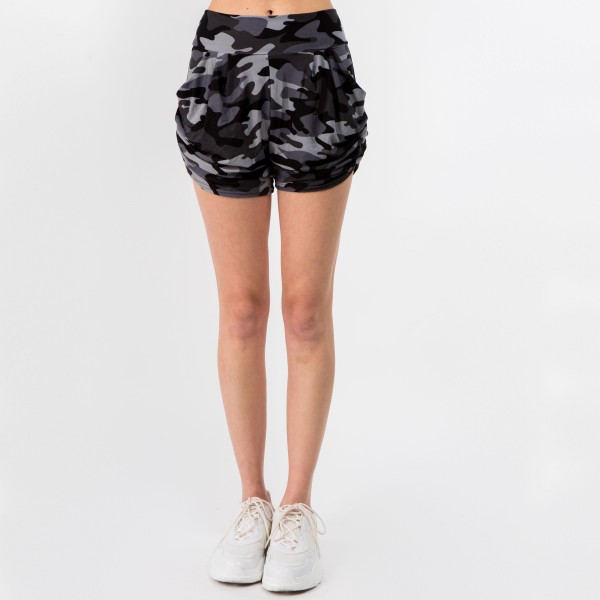 """Women's New Mix Brand Harem Shorts. (6 pack)  - 2.5"""" Waistband - Two Pockets - Soft, Smooth & Cool Feel Material - Elastic Ruched Feature  - 6 Pair Per Pack - Sizes: 3:S/M - 3:L/XL - Inseam 3"""" Long - 92% Polyester / 8% Spandex"""