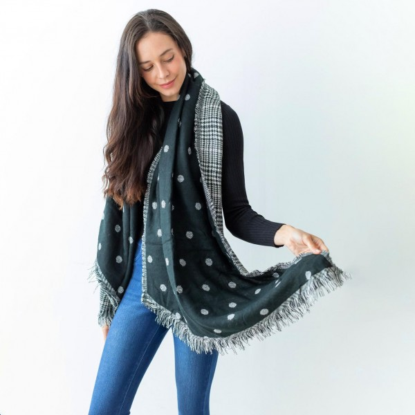 """Women's Polka Dot Knit Scarf Featuring Fringe Edges and a Reversible Houndstooth Side.  - Approximately 27"""" W x 77"""" L - 100% Polyester"""
