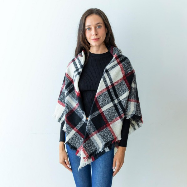 """Women's Plaid Blanket Knit Scarf Featuring Fringe Edges.  - Approximately 51"""" W x 51"""" L - 100% Polyester"""