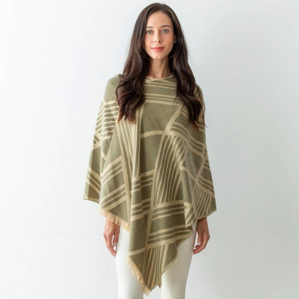 """Women's Abstract Print Knit Poncho Featuring Fringe Edges.  - One Size Fits Most (Sizes 0-14) - Approximately 40"""" in Length - 100% Polyester"""