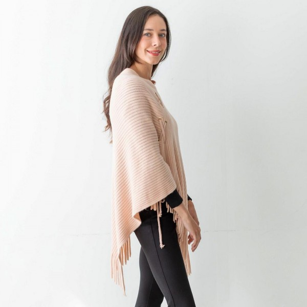 """Women's Woven Knit Poncho Featuring Lace Up Accents and Tassel Edges.  - One Size Fits Most (Sizes 0-14) - Approximately 35"""" in Length - 100% Acrylic"""