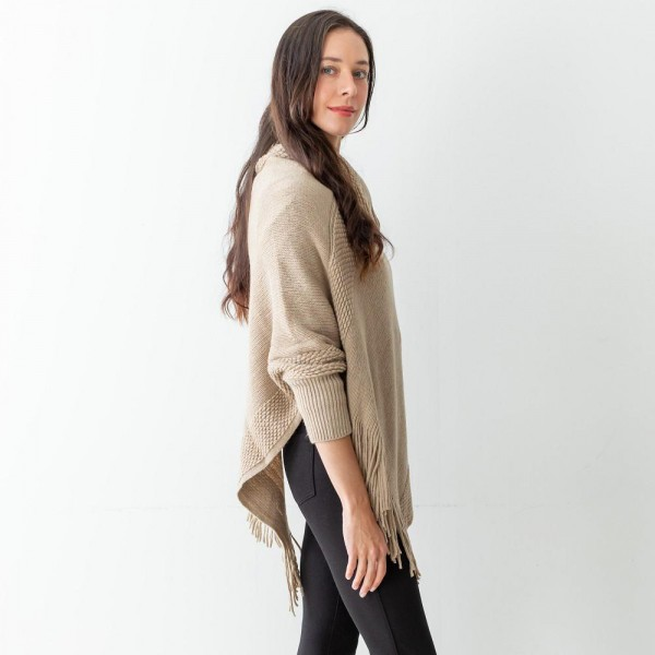 """Women's Woven Knit Poncho with Sleeves Featuring Tassel Accents.  - One Size Fits Most (Sizes 0-14) - Approximately 35"""" in Length - 100% Acrylic"""