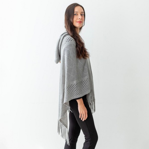 """Women's Woven Knit Poncho Featuring Tassel Edges and a Hood.  - One Size Fits Most (Sizes 0-14_ - Approximately 36"""" in Length - 100% Acrylic"""